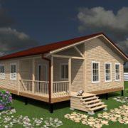 Проект одноэтажного дома 9 на 9 с террасой