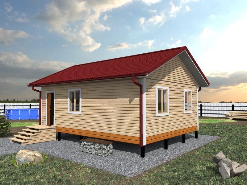 Одноэтажный дом из бруса 6 на 8