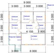 Проект одноэтажного дома из бруса 9 на 9 м
