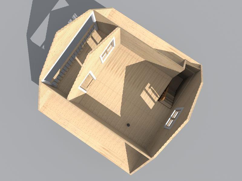 проект бани с балконом и террасой