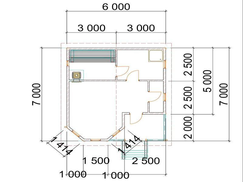 проект бани с эркером 7х6