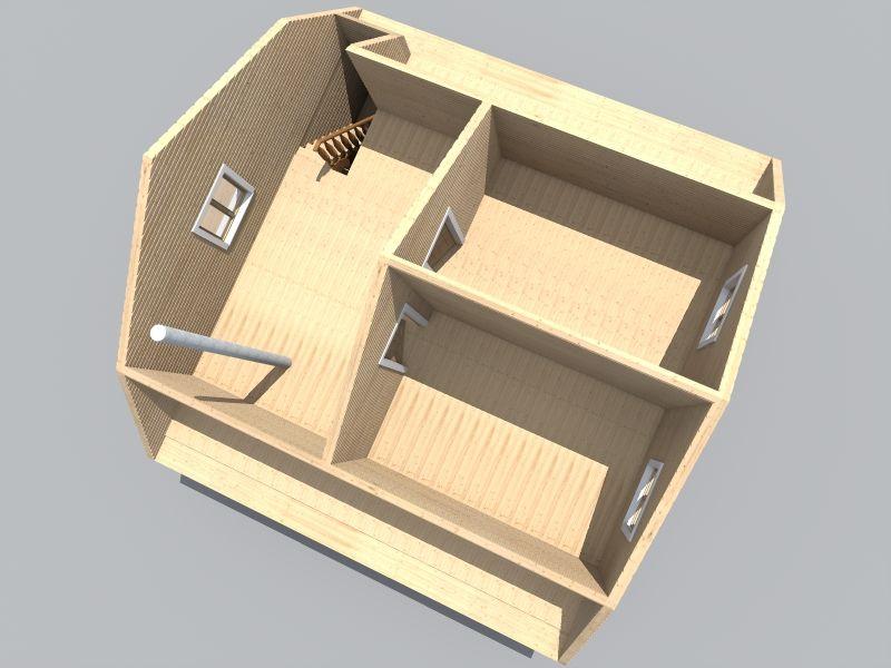 проект бани 8х8 с мансардой