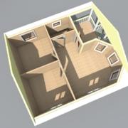 одноэтажный дом из бруса с эркером