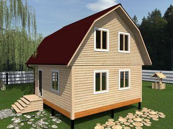 проект дома из бруса 6х6 с мансардой