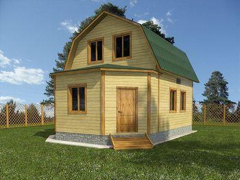 проект дома из бруса 6х8 с мансардой