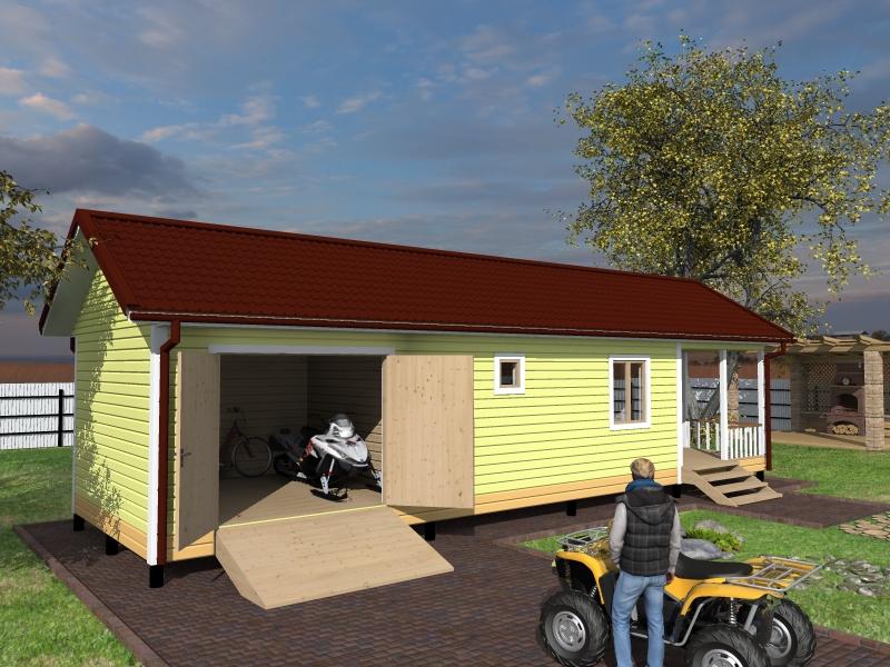 проект бани с гаражом и террасой