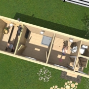 Мобильная баня 7х2 м с туалетом