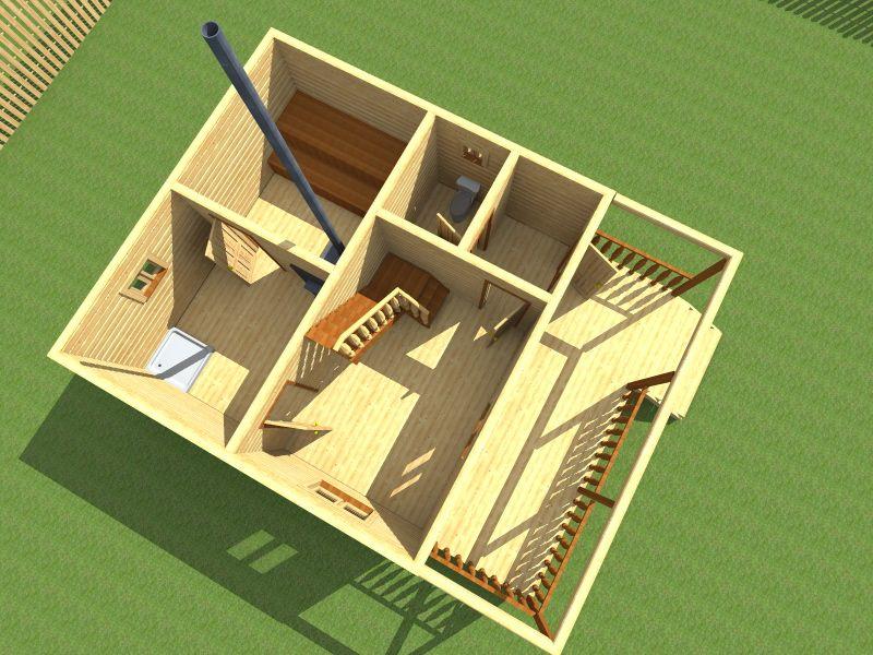 дом баня из бруса 6х8