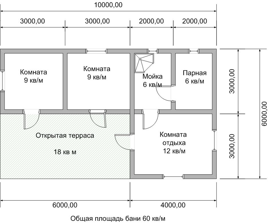 проект бани 6х10 один этаж