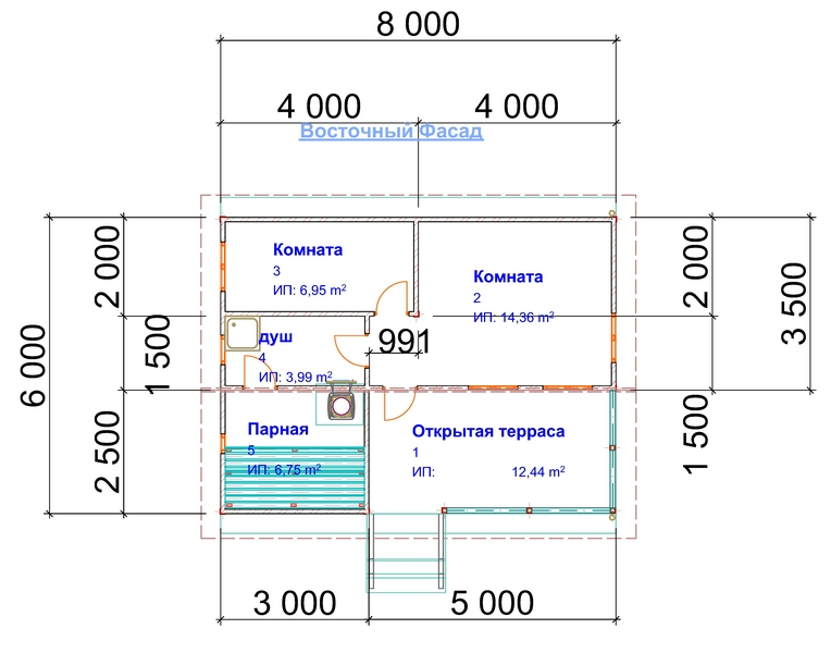 проект бани 6х8 с террасой