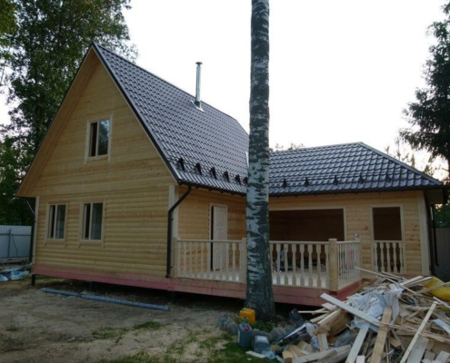 дома с баней из бруса с мансардой с террасой