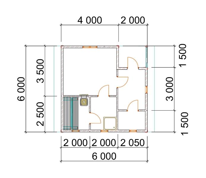 план бани 6х6 из бруса