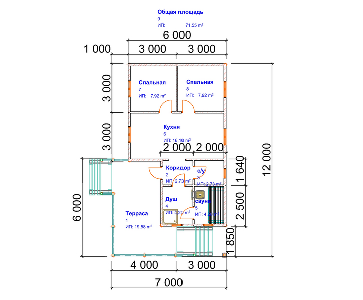 план дома бани 7х12 из бруса