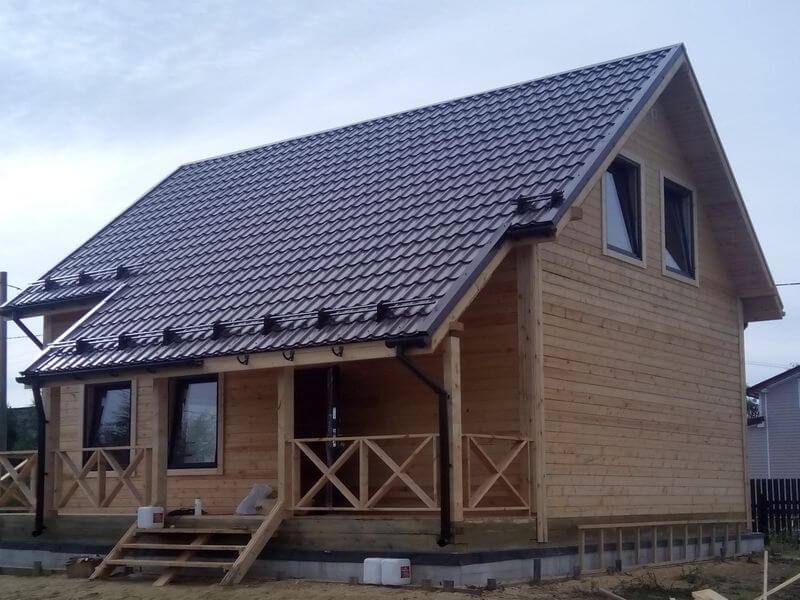 проекты домов из бруса полтора этажа