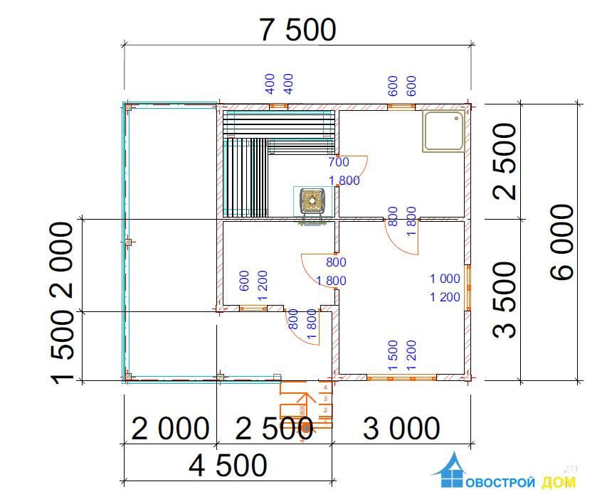 Баня с эркером 6х7.5 м.