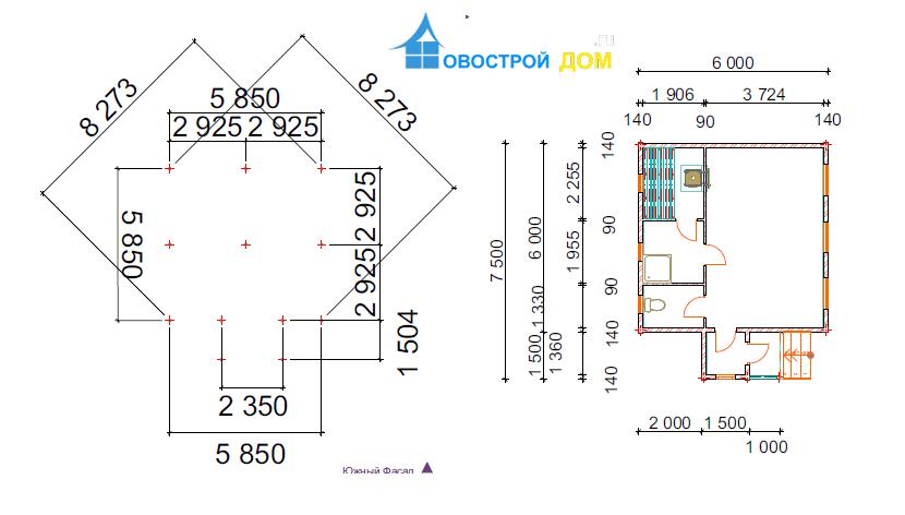 одноэтажная баня 6х7.5