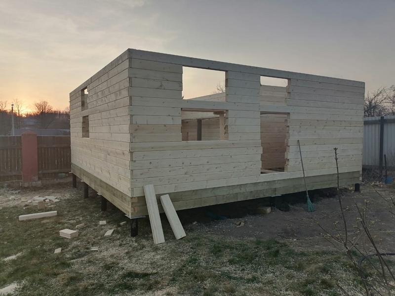 Дом баня 6х6 с мансардой из бруса