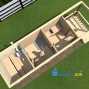 мобильная баня 8 метров с террасой 2 метра