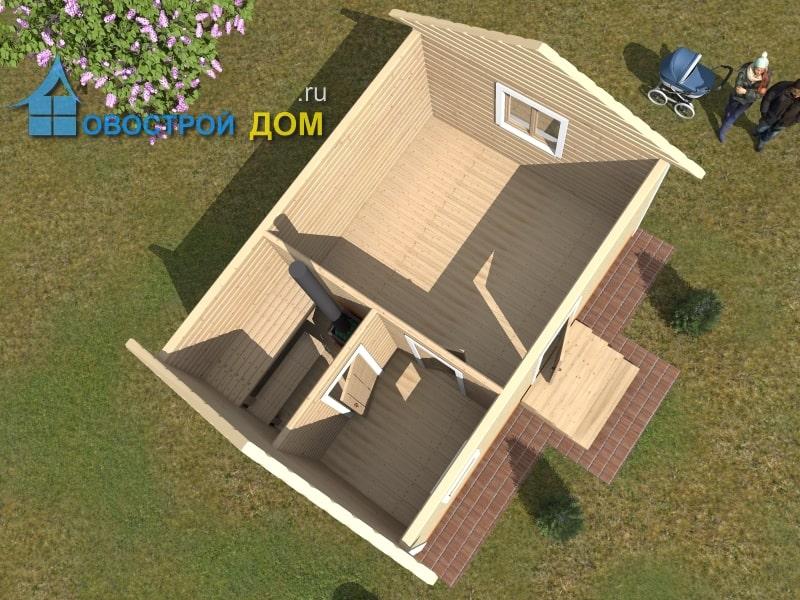 баня 4х6 проект вид с верху
