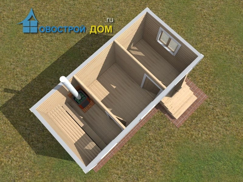 баня из бруса 3х6 вид с верху