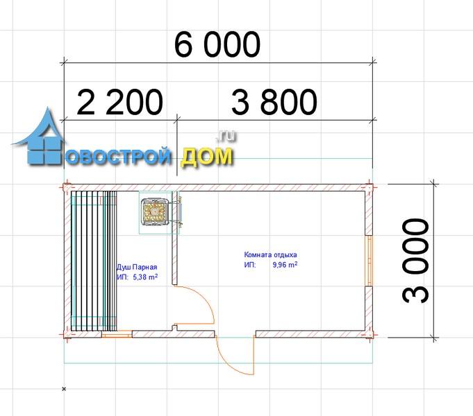 чертеж бани 3х6 планировка