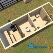 перевозная баня 6х2.3 вид с верху