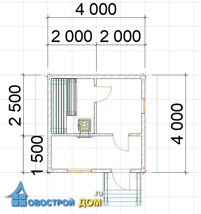 план бани 4х4 с размерами