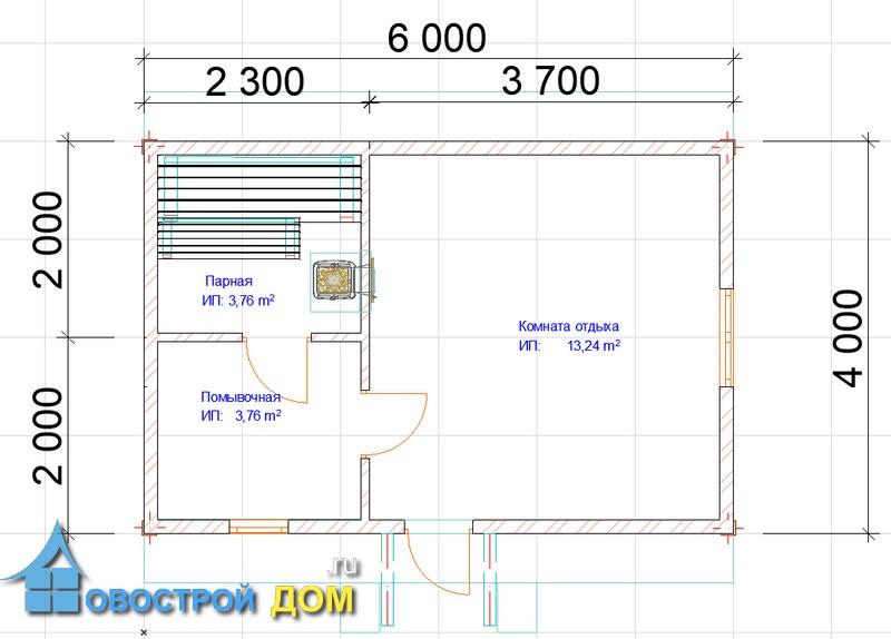 план бани 4х6 с крылечком