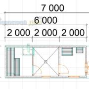 планировка перевозной бани 6х2
