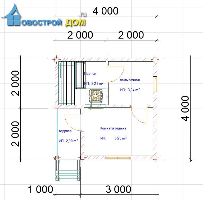 проект бани 4х4 с террасой планировка